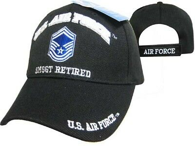 415a44b1958 U.S. Air Force SMSGT Retired Black USAF Embroidered Ball Cap Hat CAP540C  (TOPW)