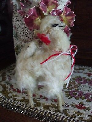 "Vintage Llama Real Fur Toy Alpaca Figure Creamy White Leather Ears Large 8"" Tall"
