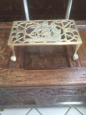 "Antique English Brass Trivet Footman Claw And Ball Feet Fireplace Reg: ""1893"""