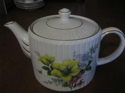 Ellgreave England Tea Pot Genuine Ironstone With Flowers Ribbed With Gold Trim