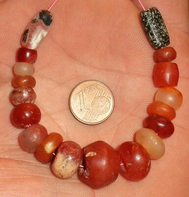 15mm Perles Ancien Afrique Ancient Mali African Neolithic Agate Carnelian Beads