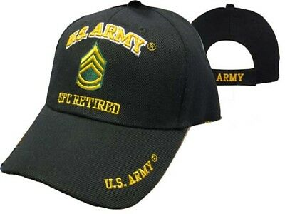 U.S. Army SFC Retired Military Black Embroidered Cap Hat 560C