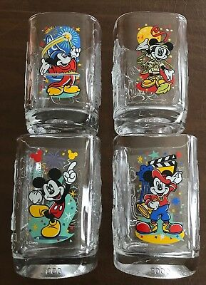 Set of 4 Walt Disney 2000 McDonalds Collector Square Glasses