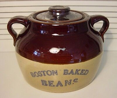 Near Mint Uhl Pottery Double Handle Boston Baked Beans Pot Jug Crock With Lid