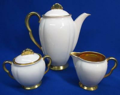 Carlton Ware Pale Pink And Heavy Gold 3 Pc Teaset