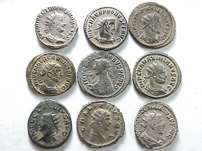 Lot of 9 Higher Quality Ancient Roman Antoninianus Coins; Saloninus; 32.8 Grams!