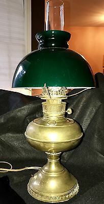 Perfection Converted Antique Oil Electric Desk Lamp Green Cased Shade Glass 22""