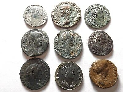 Lot of 9 Quality Ancient Roman Coins; Magnentius, Claudius, Hadrian; 67.5 Grams!