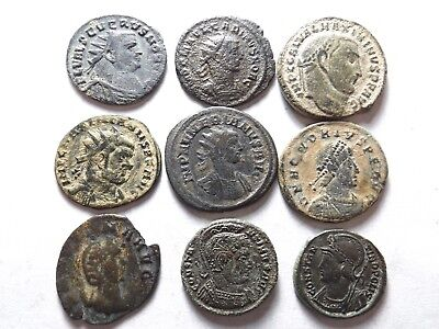 Lot of 9 Higher Quality Ancient Roman Coins; Severus II, Numerian..; 31.3 Grams!