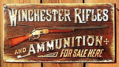 """New Winchester Rifles and Ammo Distressed Retro Vintage Tin Metal Sign 12"""" x 16"""""""
