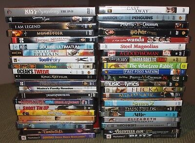 Big Lot of 43 DVDS  Films  Movies  Some Sealed  Action Drama Comedy Concerts