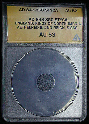 AD 843-850 Styca Great Britain ANACS AU53 England Kings of Northumbria (mb1435)