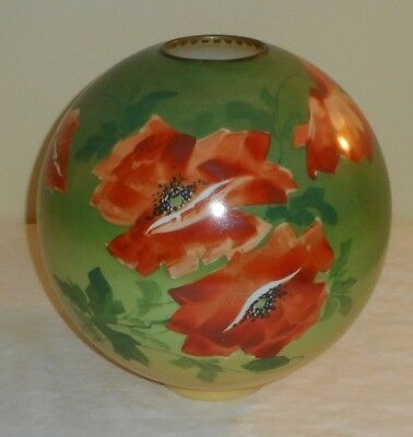 "Whopper 12"" Green Orange Poppy Banquet GWTW Piano Oil Lamp 4"" Fitter Ball Shade"