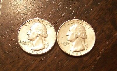 A lot of 2 1964 silver quarters