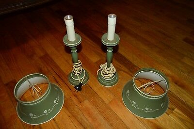 Vintage Antique Estate Find Metal Lamps Shades Country Shabby Chic
