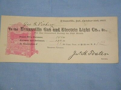 Vintage Evansville, IN Gas & Electric Co. Utility Bill Collectible ~1895~LoOk!