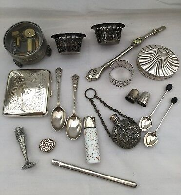 Mixed Job Lot Collectables Hallmarked Silver& Silver Plate. Perfume, Sewing Etc