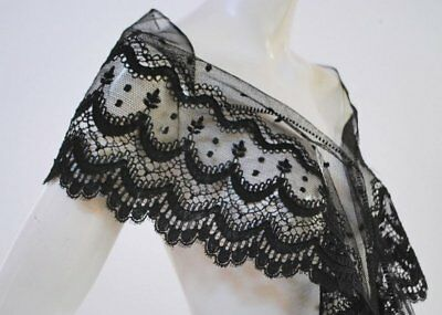 Antique Victorian Graphic Black Lace Flounce With Cordonet Yardage
