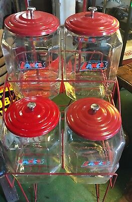 Vintage Original LANCE 4 Jar Snacks Rack + Chip Clip Country Store Display XLNT