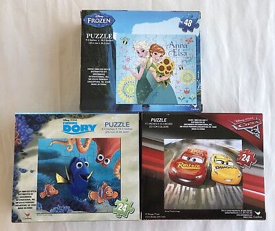 Disney Pixar Puzzles Lot of 3! - Frozen, Finding Dory, Cars 3 - New, Ships FREE