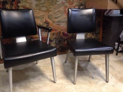 Two Vintage General Fireproofing Goodform Aluminum Office Chairs Mid Century