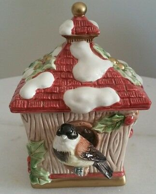 Fitz and Floyd Classics Birdhouse Trinket Box Candle Chickadee Winter Ceramic