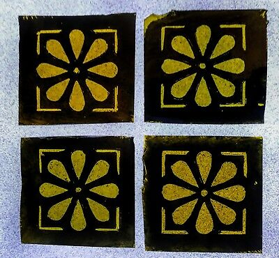 Stained Glass 4 hand painted kiln fired squares. Victorian vintage style.