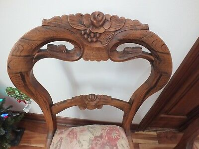 Pair of Antique Victorian Rose Back Carved Parlor Accent Chair Upholstered