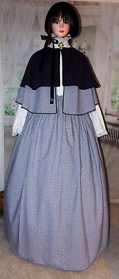 Ladies Victorian Dickensian Gentry 3 pc Fair Costume Caroler Fancy Dress