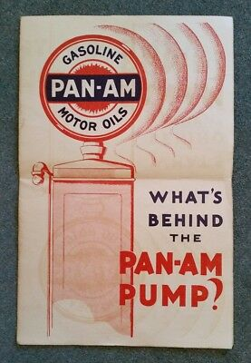 Pan-Am Gasoline & Motor Oils,Advertising Foldout Brochure,Great Graphics!! 1930