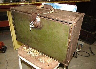 Antique Metal over Wood Machinist Tool Chest with KEY 1920 vintage Trunk Lock