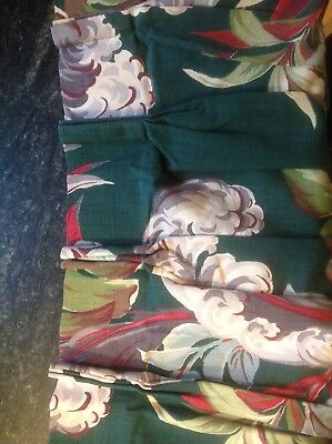 Pair of Vintage Mid Century Modern Floral Bark Cloth Curtains
