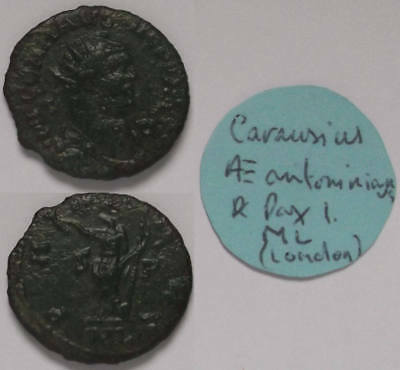Roman bronze coin; Carausius Pax with old ticket; from my own collection (No. 1)