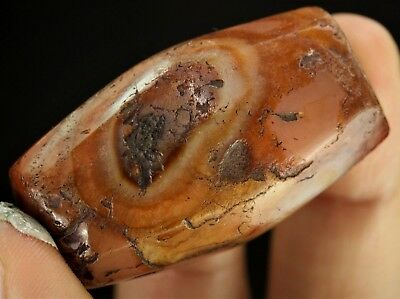 172) Ancient Biconical Faceted Carnelian Agate Stone Bead Mali Empire 47 x 25 mm