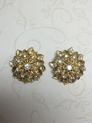 Trifari ? Pair of Vintage ER's, Brushed Gold-Tone w/Clear Chaton Accents, Tiered