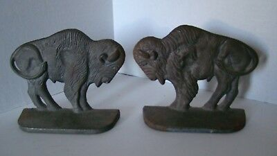 Pair Of Vintage Cast Iron Buffalo Bookends / Door Stops