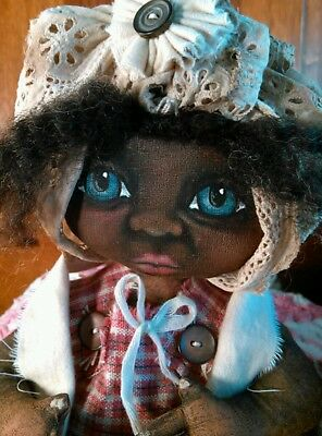 Primitive Black Folk Art Cloth Doll OOAK 11 Inches ~ Hand Painted~