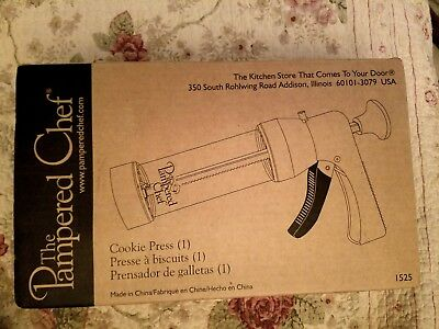 Pampered Chef Cookie Press Pastry Canape Gun Shooter 16 Design Discs #1525-NIB