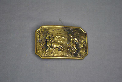 VINTAGE BTS Cowboys Roping A Cow SOLID BRASS BTS BELT BUCKLE USA