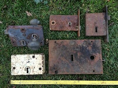 5 Used Vintage Door Rim Lock No Keys Steel & Brass Church School Chapel 2 Knobs