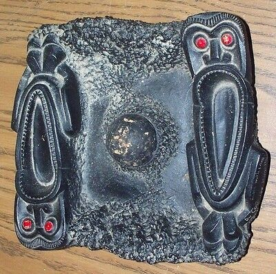 Rare Vintage Coco Joes Of Hawaii Tiki Pipe Rest Ashtray Made Of Lava Great Piece