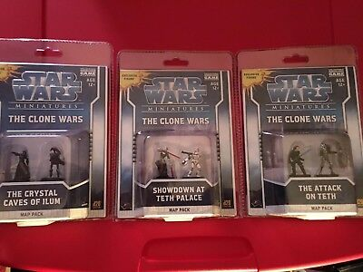 Lot Of 3 Star Wars Miniatures Map Packs