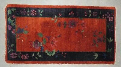 Antique Vintage Chinese hand tied knotted rug orange and blue 24 x 45