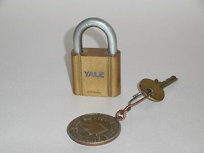 Vintage Brass YALE Collectible Padlock with one working key