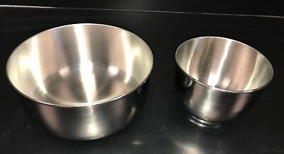 2 Sunbeam Mixmaster Stainless Steel Mixing Bowl Large Small Set Replacement