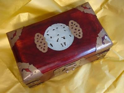 Vintage Rosewood Chinese Jewelry Box with Brass Carved Inlaid Jade FREE SHIPPING