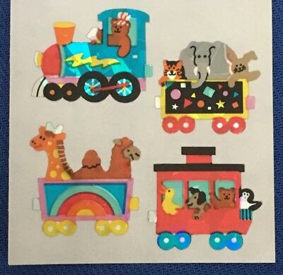 Vintage Sandylion Sticker Tiere Zug Animals Train Prism Glänzend