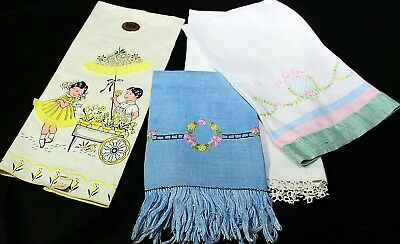 Lot of 4 Vintage Kitchen Towels Embroidered Damask Novelty Kids Imperial W Tag