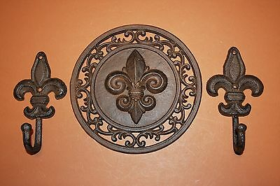 (3) Fleur De Lis Wall Hook Set, Saints Home Decor, Cast Iron Fleur De, F-11,27