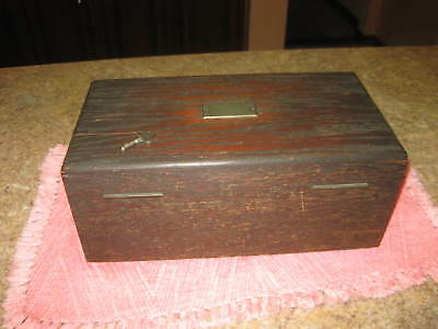 Antique Wood Box Case Caddy With 280 Plus Clay Poker Chips Key